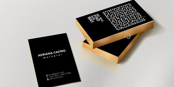 tarjetas de visita cantos en oro papeleria corporativa